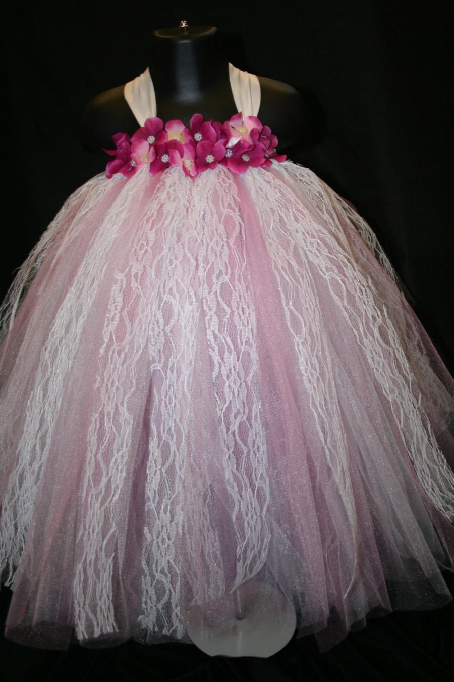 Wedding - Pink and White Lace Tutu Dress, Tutu Dress, Flower Girl Tutu Dress, Flower Girl, Rose and White Tutu Dress, Tulle and Lace Tutu Dress
