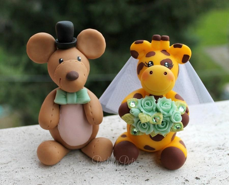Mariage - Wedding custom cake topper, animal cake topper, giraffe and mouse bride and groom, cake topper inspired by your stuffed animals
