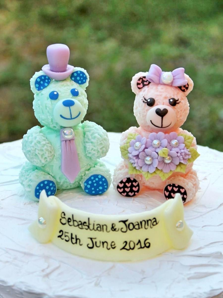 Mariage - Bear cake topper for wedding, unique personalized bride and groom, wedding cake topper, keepsake