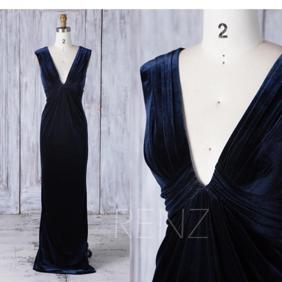 Свадьба - 2017 Blue Bridesmaid Dress, Sexy Deep V Neck Wedding Dress, Ruched Bodice Prom Dress, Mother of Bride Dress, MOB Dress Full Length (LV275)