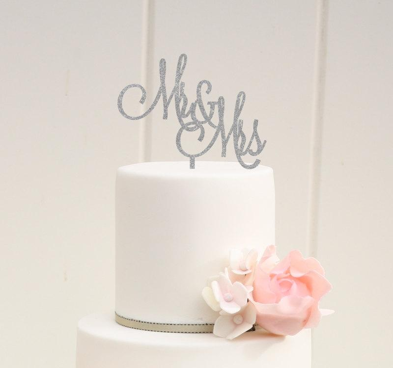 Mariage - Mr and Mrs Glitter Wedding Cake Topper - Custom Cake Topper