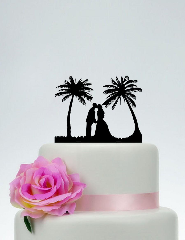 Beach Theme Cake Topper,Bride And Groom Silhouette Cake Topper ...