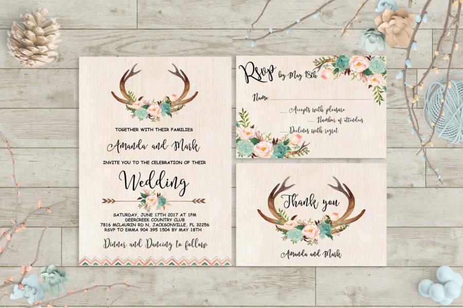photo relating to Deer Antler Printable Template titled Boho Wedding day Invitation Printable Antlers Marriage Invitation