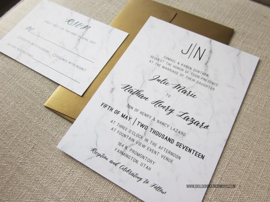 Marble And Gold Wedding Invitation // 5x7 // Monogram // Metallic ...
