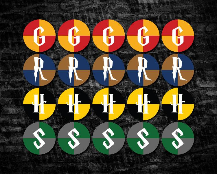 "Hogwarts Houses Printable 2"" Circle Cupcake Toppers, Harry ..."