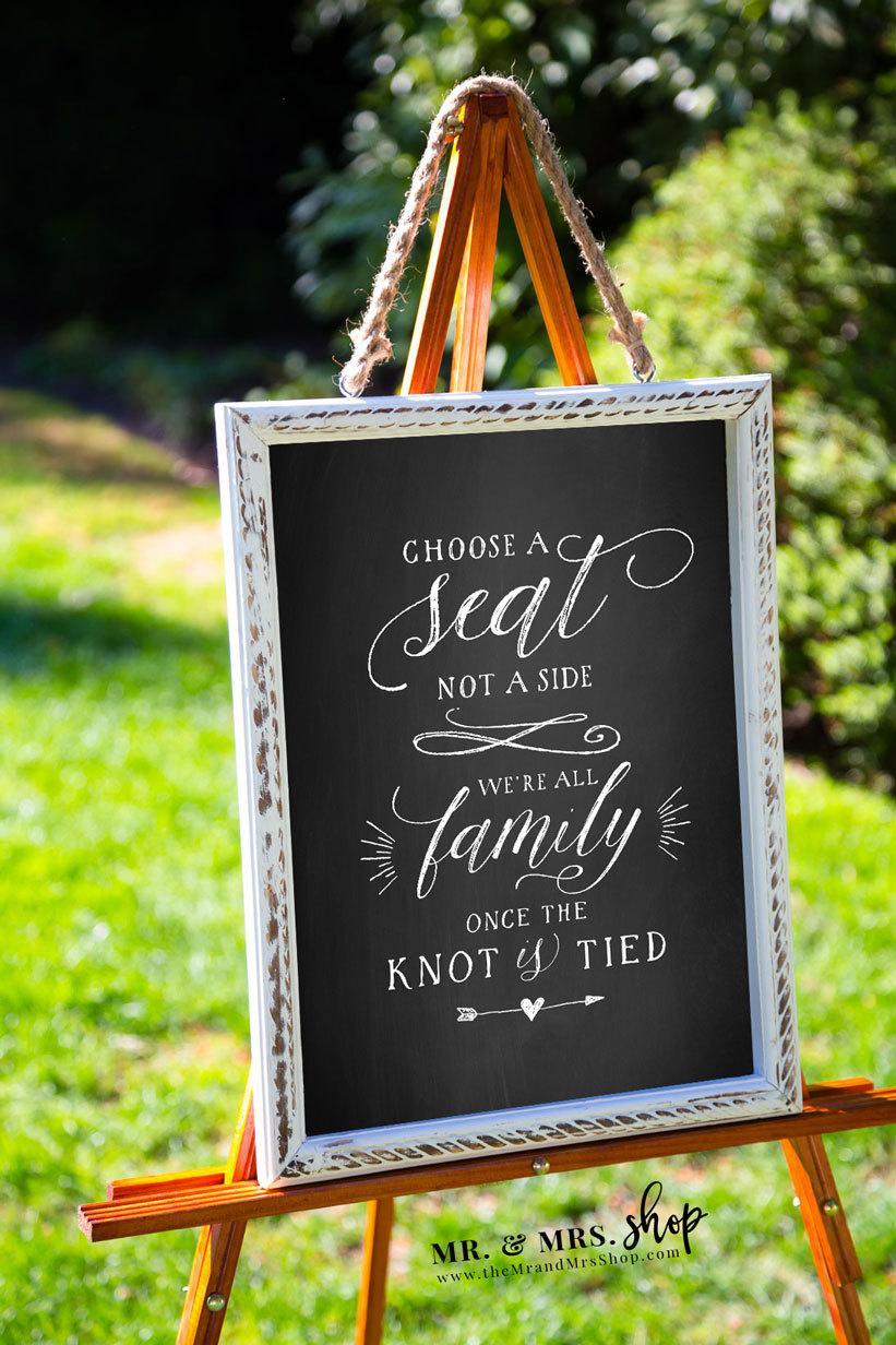 Свадьба - Printable Chalkboard Sign Choose A Seat Not A Side, Chalkboard Wedding Sign, Wedding Seating Sign, Wedding Printable, PDF, MAM206_03