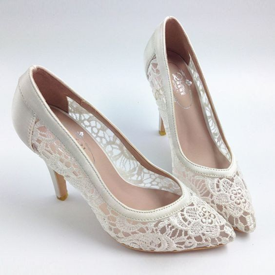 Hochzeit - Sexy See Through High Heels Pointed Toe Lace Wedding Bridal Shoes, S001