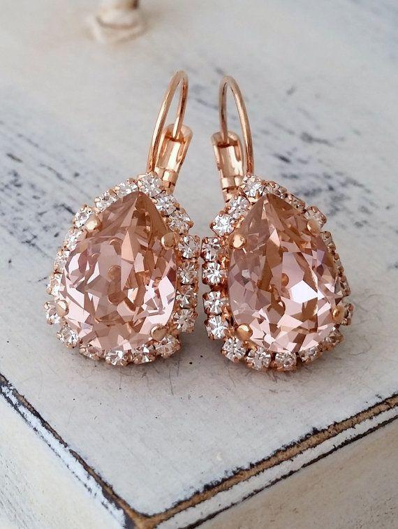 Свадьба - Blush Earrings,Rose Gold Morganite Earrings,Rose Gold Bridal Earrings,blush Pink Bridesmaid Earrings,blush Drop Earring,Swarovski Earring