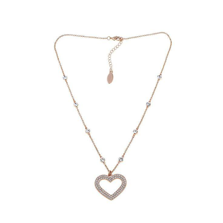 """Свадьба - Joan Boyce """"Loved And Protected"""" Heart-Design Pavé Crystal 18"""" Station Necklace - Black"""