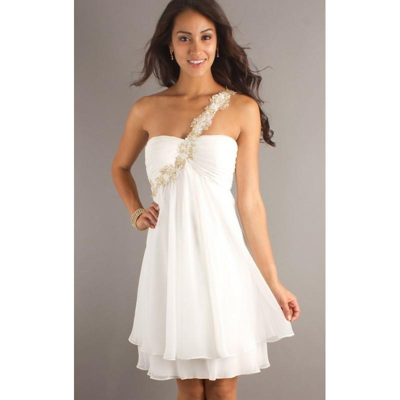 Mariage - Sheath/Column One-Shoulder Sleeveless Beading Chiffon Homecoming Dress In Canada Homecoming Dress Prices - dressosity.com