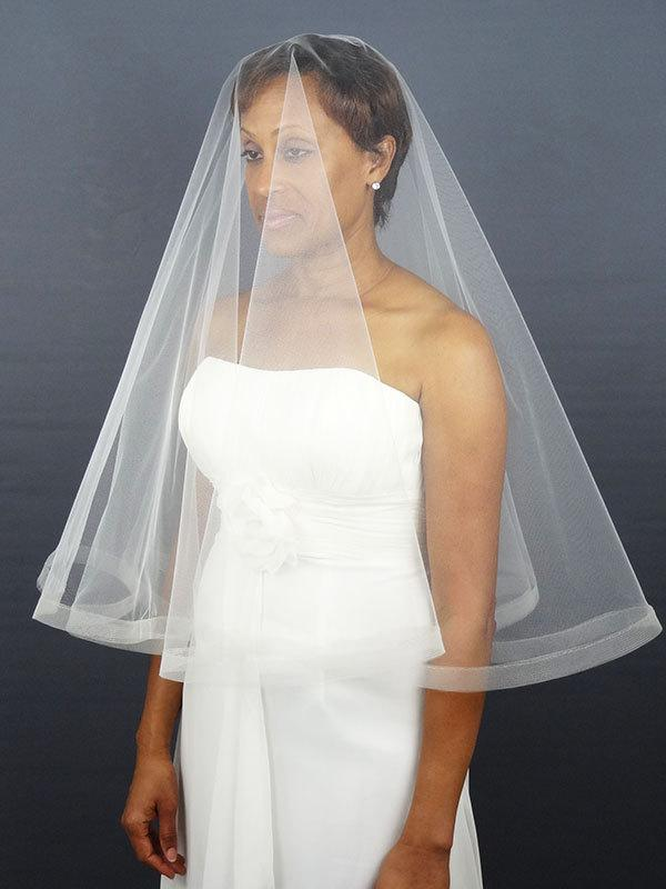 Mariage - Wedding Veil with Horsehair Trim, Drop Veil, Horsehair Edge, Two Layer Bridal Veil, Circular Veil