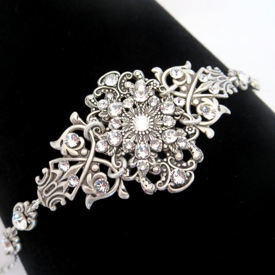 زفاف - Bridal bracelet, Crystal cuff bracelet, Vintage style bracelet, Swarovski bracelet, Antique silver bracelet, Wedding jewelry, Rose Gold