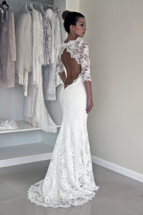 Mariage - Keyhole Back Wedding Dress In Corded French Lace, Illusion Neckline Lace Dress, Trumpet Wedding Dress With Sleeves