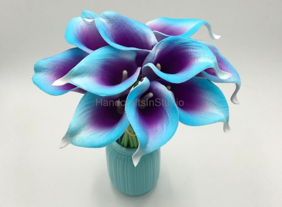 blue purple calla lily bouquet 10 real touch calla lilies purple rh weddbook com