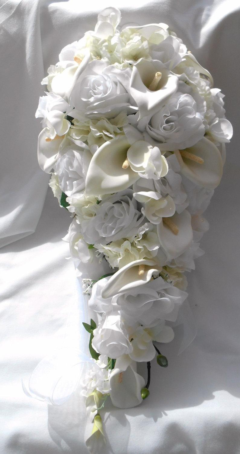Mariage - Silk cascade bridal bouquet made of callas ,roses, orchids and hydrangeas in white