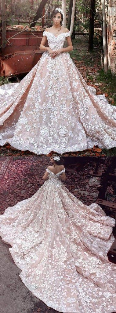 Wedding - Luxurious Off Shoulder Watteau Train Short Sleeves Organza Wedding Dress With Lace