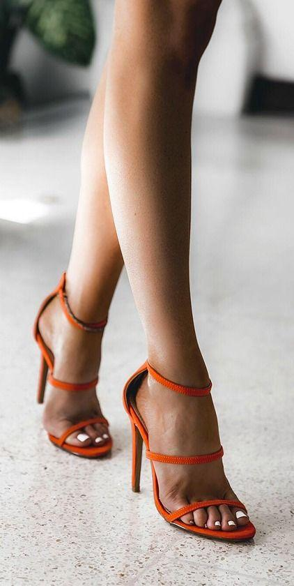 Mariage - Three Love Orange Suede Dress Sandals