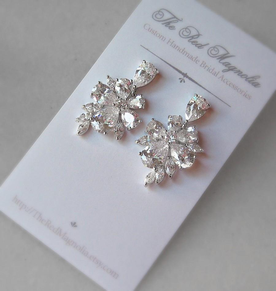 زفاف - Cubic Zirconia Earrings, Crystal Earrings, Bridal Earrings - CHLOE