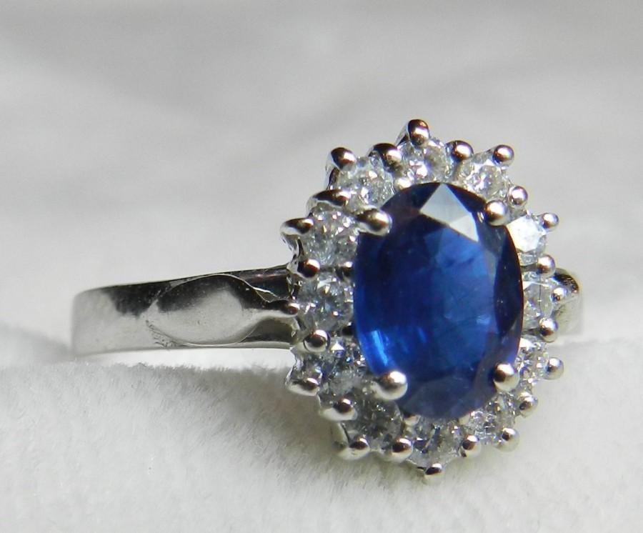 Свадьба - Vintage Sapphire Engagement Ring Sapphire Ring Diamond Halo Engagement Ring Ceylon Blue Natural Sapphire Fine Diamonds 14k White Gold