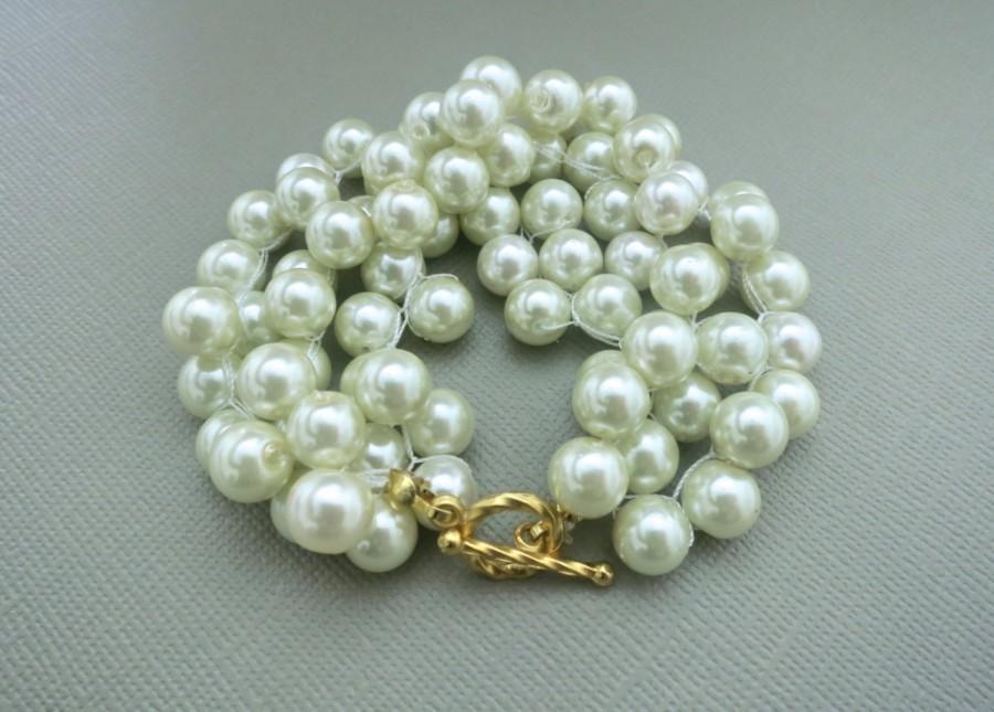 زفاف - Bridesmaid Pearl Bracelet Wedding Bracelet Chunky Bridesmaid Jewelry Bridal Pearl Bracelet Set Gold Silver Vintage Statement White Cream
