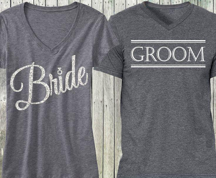 Wedding - Gray Script Bride Shirt   Gray Groom Shirt SPECIAL DEAL