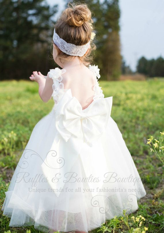White Lace Tulle Dress Birthday Girl