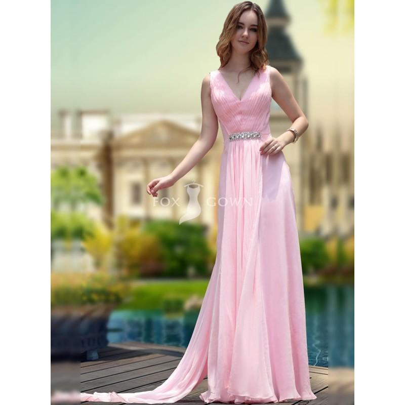 Mantel Rosa In V-Ausschnitt Chiffon Prom Kleid Mit Mieder Geraffte ...