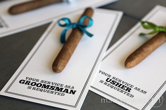 Boda - Groomsman Card, Cigar Card Will You Be My Groomsman, Service Is Requested As Best Man, Ring Bearer, Usher Way To Ask Groomsmen (Set Of 4)
