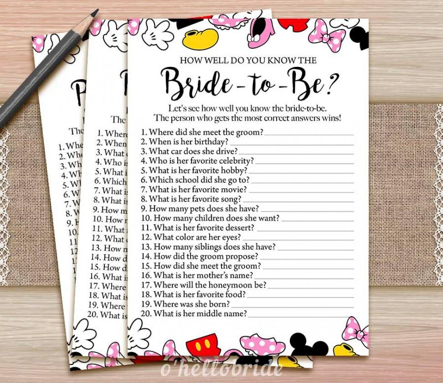picture regarding How Well Do You Know the Bride Printable named Disney Concept Bridal Shower How Very well Do Oneself Recognize The Bride In direction of