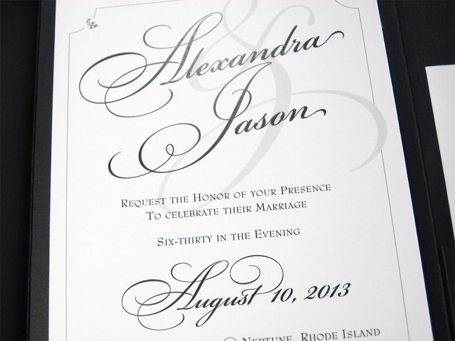 زفاف - Traditional Wedding Invitation Custom Pocketfold Elegant Script Classic Black White Flourish Belly Band Wrap