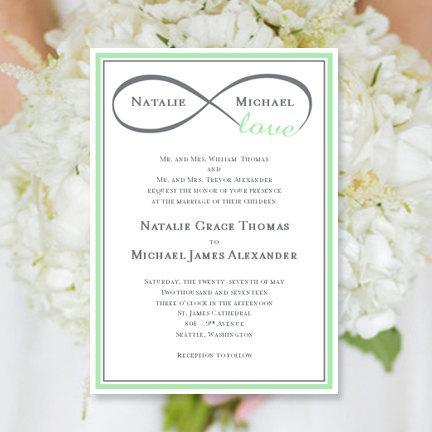 "زفاف - Wedding Invitation ""Infinity Love"" Mint Green & Gray Printable Template Edit Microsoft Word Instant Download ALL COLORS  DIY You Print"