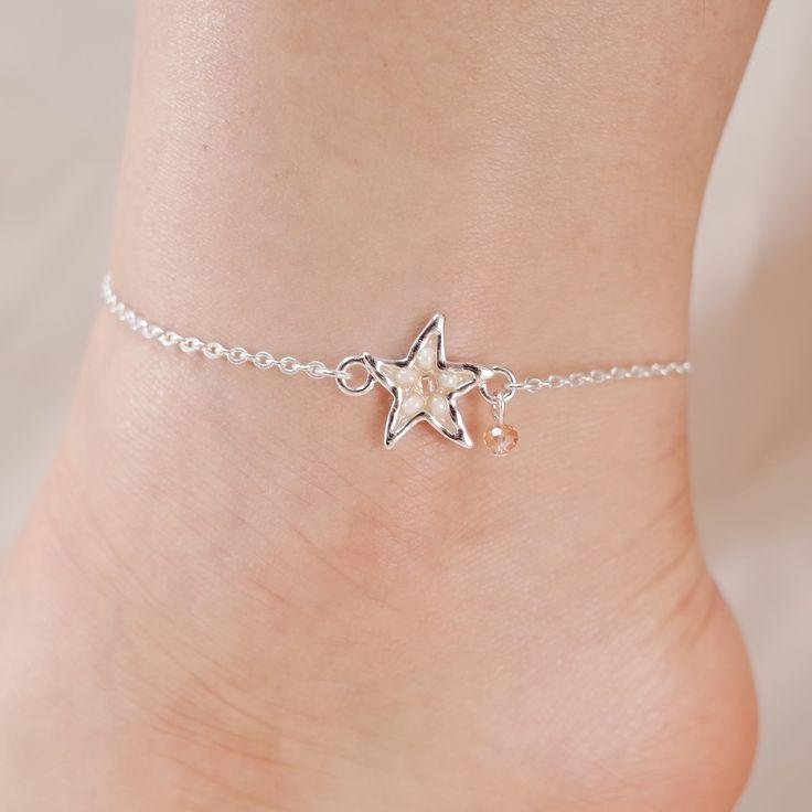 Wedding - Starfish Seed Bead Chain Link Anklet