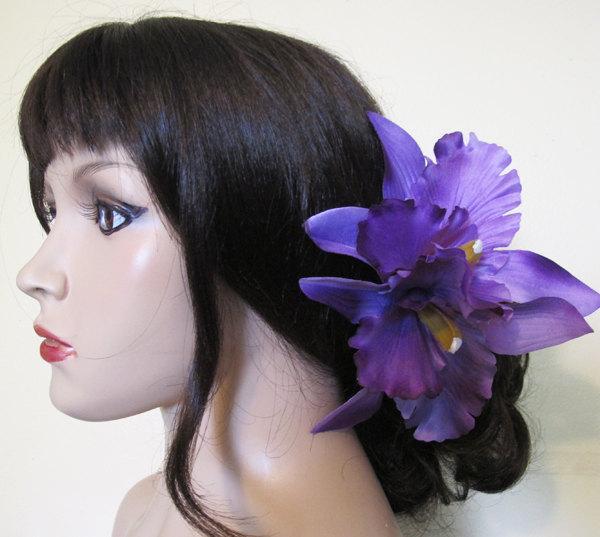 "Свадьба - Hawaiian PurpleTwo Orchids hair flower clip 6.5"" x 6"""