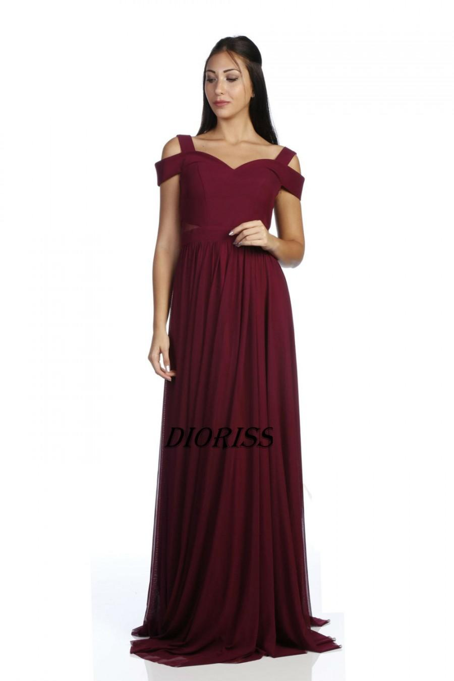 Свадьба - 2017 Burgundy chiffon bridesmaid dress flutter sleeves, sweetheart  bridesmaid dress,ball gown,women evening full length dress