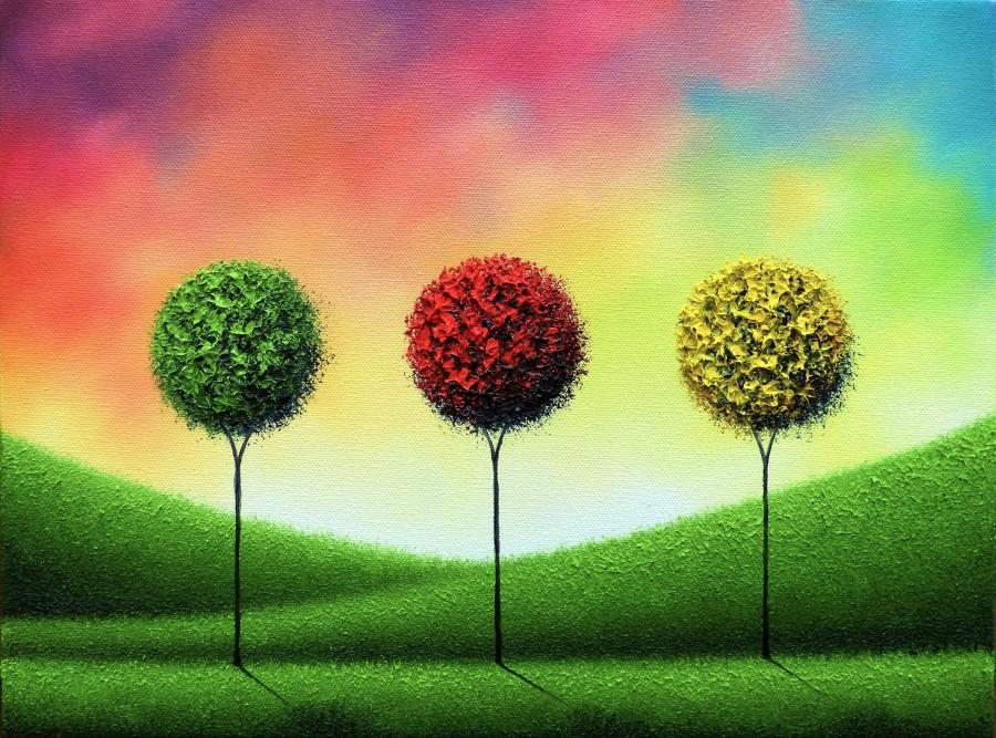Свадьба - ORIGINAL Art Abstract Tree Painting, Textured Oil Painting, Abstract Art, Multicolored Mid Century Wall Art, Contemporary Landscape, 12x16