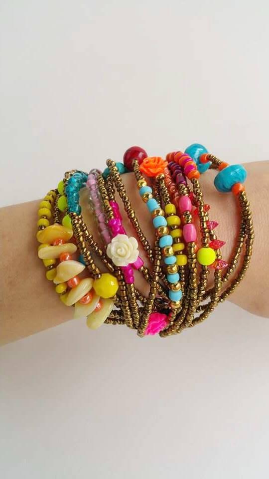 Gift For Her Boho Chic Multistrand Bracelet Adjule Seedbeed Tel Bohemian Style Trendy Bracelets Golden