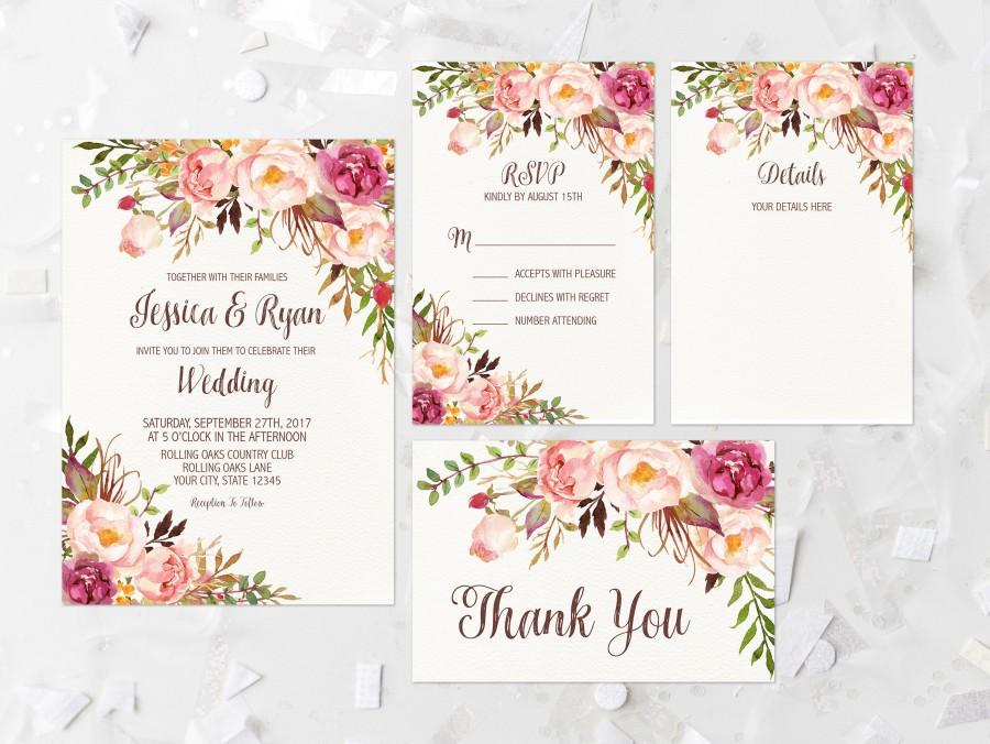Floral Wedding Invitations.Bohemian Floral Wedding Invitation Printable Pink Floral Wedding