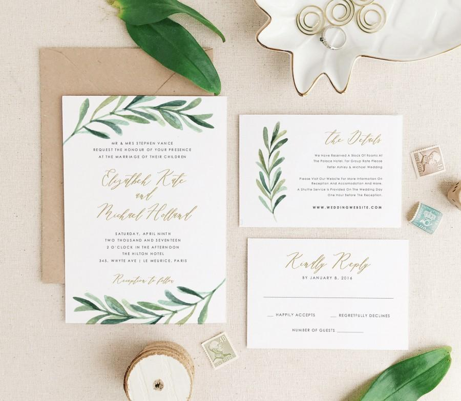 Greenery wedding invitation template printable wedding greenery wedding invitation template printable wedding invitation botanical calligraphy word or pages mac or pc stopboris Gallery