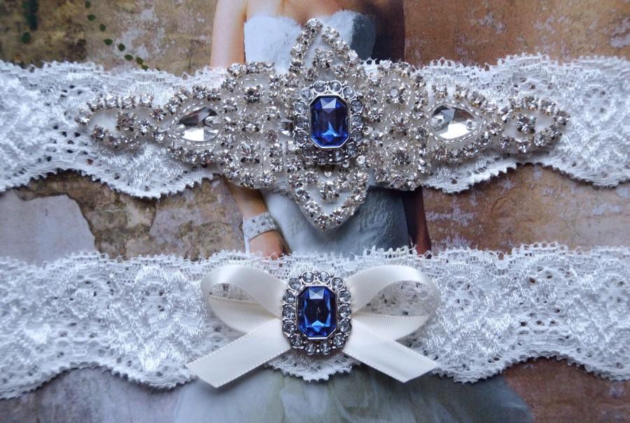 Wedding Garter Set Bridal Vintage Lace Crystal Victoria Style