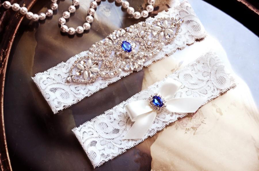 Mariage - Royal Blue Wedding Garter Set, Bridal Garter Set, Something Blue, Off White Lace Garter, Sapphire Garter, Agatha Style 10528