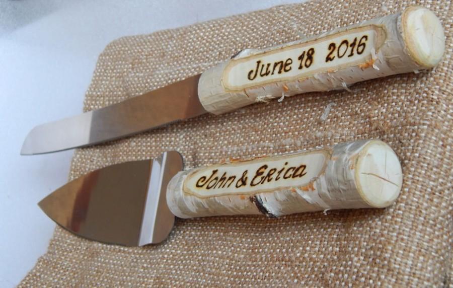 Hochzeit - Wedding cake set. Cake cutting set. Cake and knife set. Wedding Cake Knife Set. Cake serving set. Rustic cake server. Cake server set.