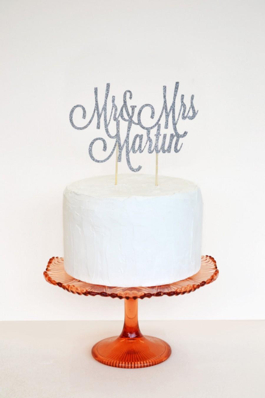 Hochzeit - Glitter custom name cake topper or wedding decoration