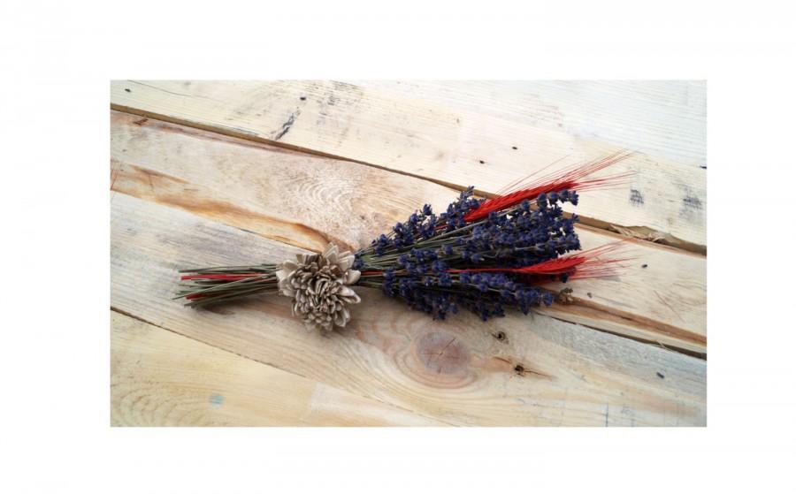 Mariage - Lavender wildflowers wedding bouquet wedding  dried flowers dried lavender ears of cereal sola flowers purple wedding lavender bouquet
