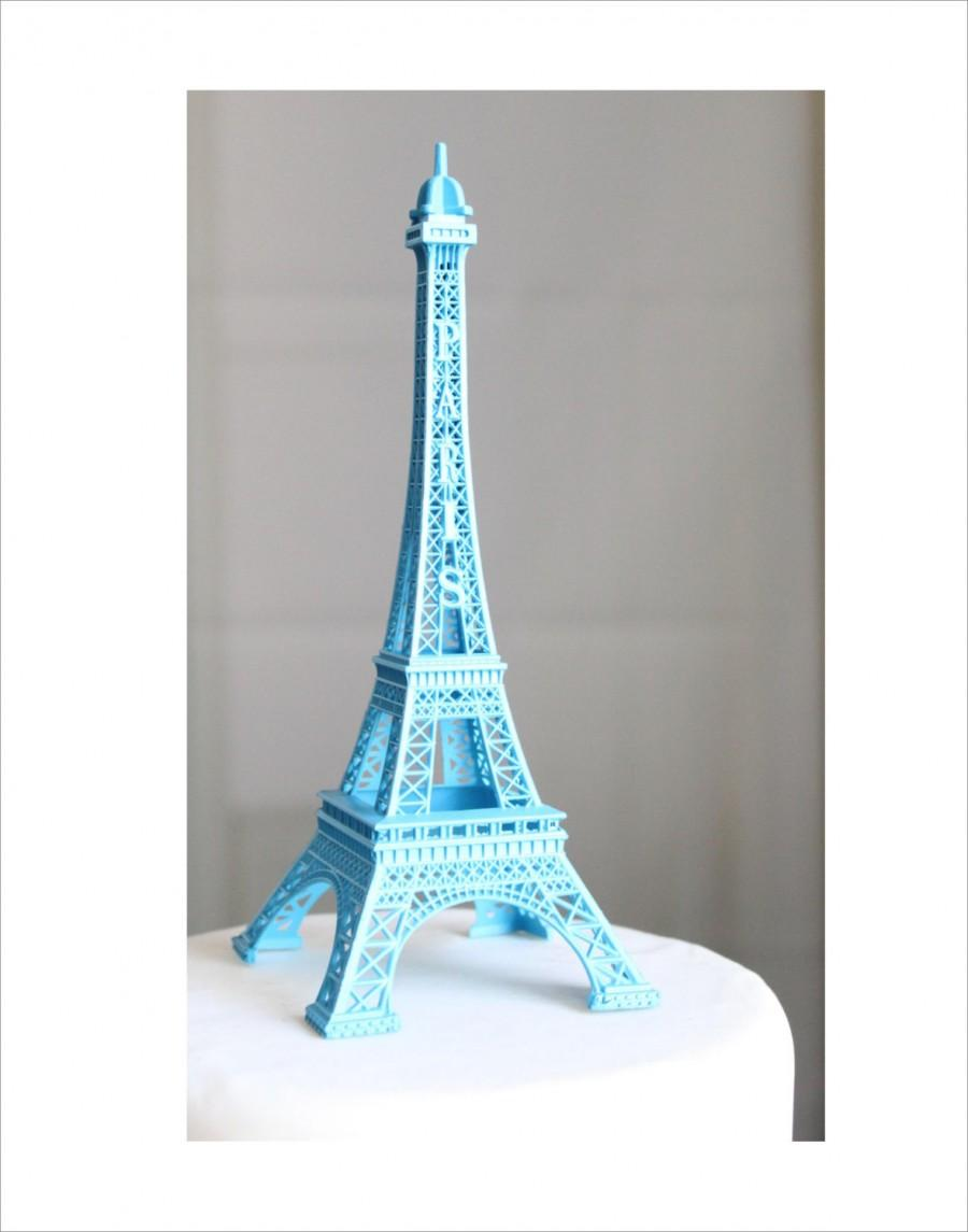 Mariage - Blue Paris Eiffel Tower Cake Topper, Centerpiece, Decoration, French, France, Decor, OverTheTopCakeTopper