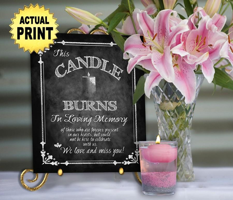 Mariage - PRINTED chalkboard wedding memorial sign - In loving memory this candle burns , Memorial wedding sign, wedding signage, in memory of sign