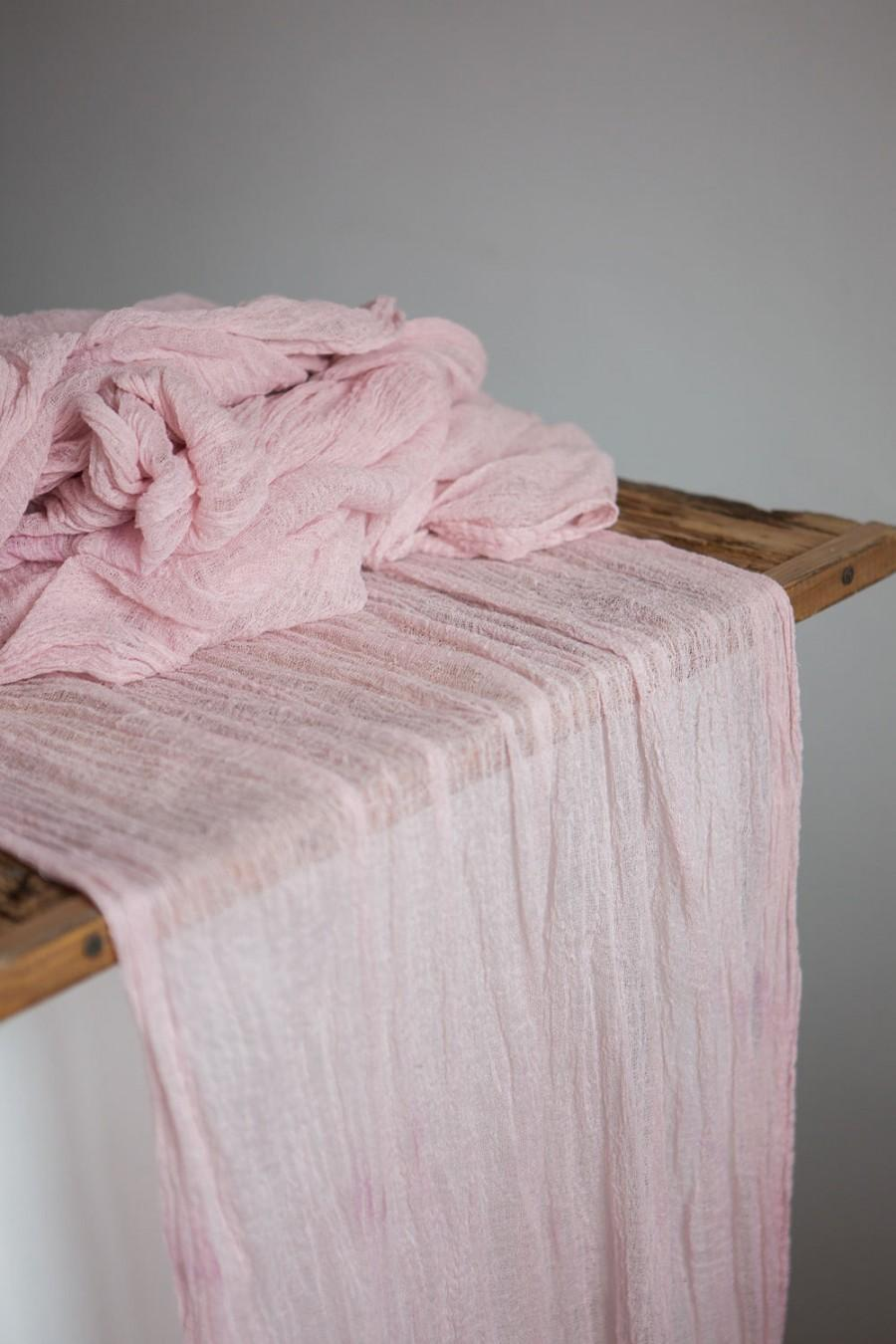 Mariage - Blush Gauze Runner for Weddings Events, Centerpieces Runner, pale rose Cheesecloth Runner, Table Hand Dyed runner, Cotton Scrim, table decor