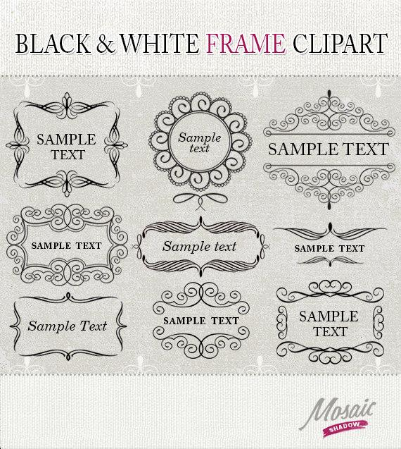Mariage - Vintage Flourish Clip Art Frames, Black And White Digital Flourishes Frames Clipart Swirl, weddings invitation scrapbooking instant download