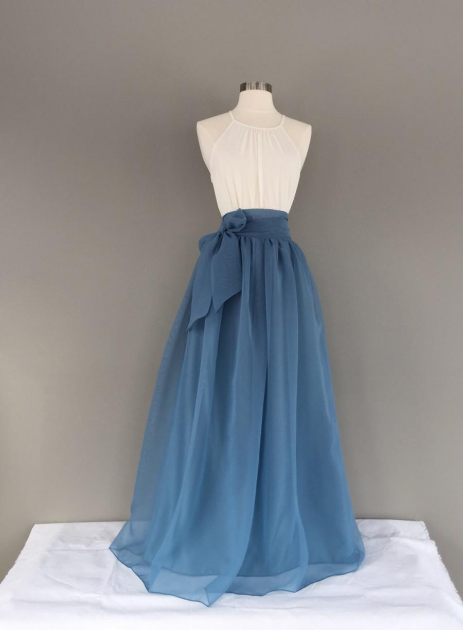 Wedding - BLUE STONE Chiffon Skirt, any length and color Bridesmaid skirt, floor length, tea length, knee length empire waist blue chiffon skirt