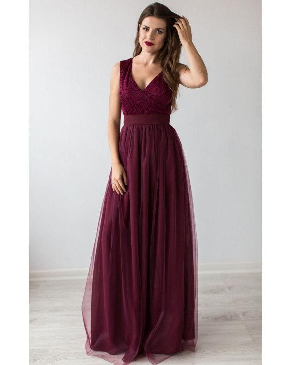 Hochzeit - Formal Prom Dress Burgundy.Bridesmaid Dress Cocktail.Floor Length Beautiful Dress Tulle Tutu Skirt.Burgundy Evening Gown