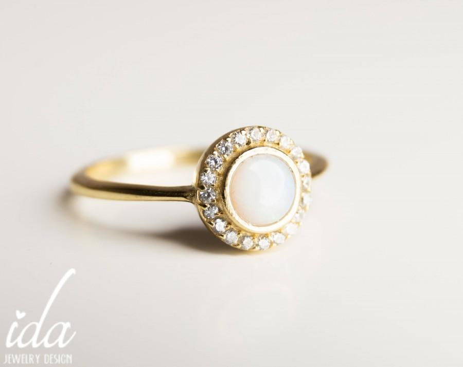 Mariage - Opal Engagement Ring - Opal Ring - Halo Engagement Ring - Opal Jewelry - 14K Gold Ring - Dainty Gold Ring - Anniversary Gifts For Women